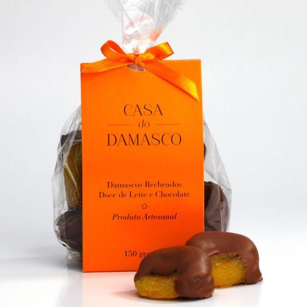 Damasco recheado Doce de Leite & Chocolate meio amargo (embalagem com 150g)