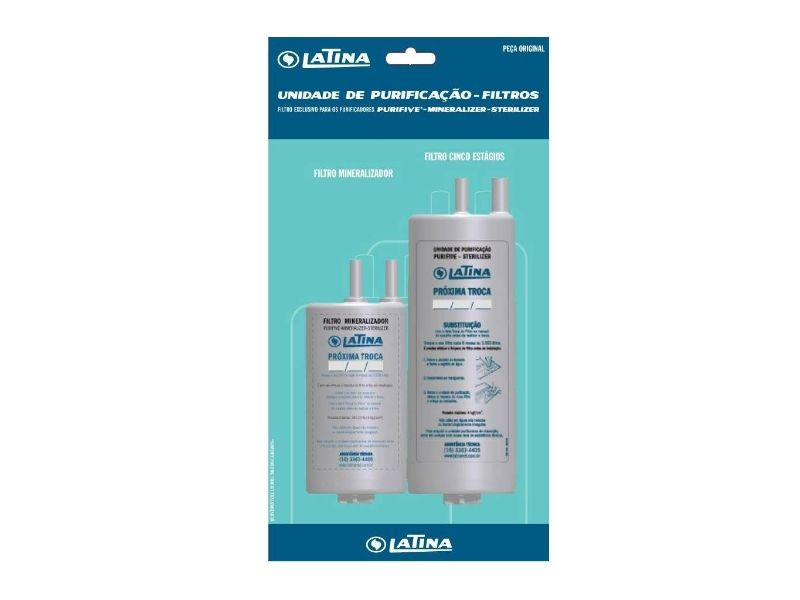 Refil Latina Skin Duplo 9 Estágios - Minerilizer / Sterilizer / XPA775 / PA755 / PA735 / PN555 / VitaUltra / VitaSupra / Vita Sali / Vitaplus / P655+P633 / P635+P655 / Fun Kitchen PN