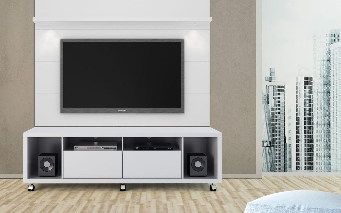 Home e Racks - Rack + painel Horizon 1.80/ 2.20 m Branco Gloss