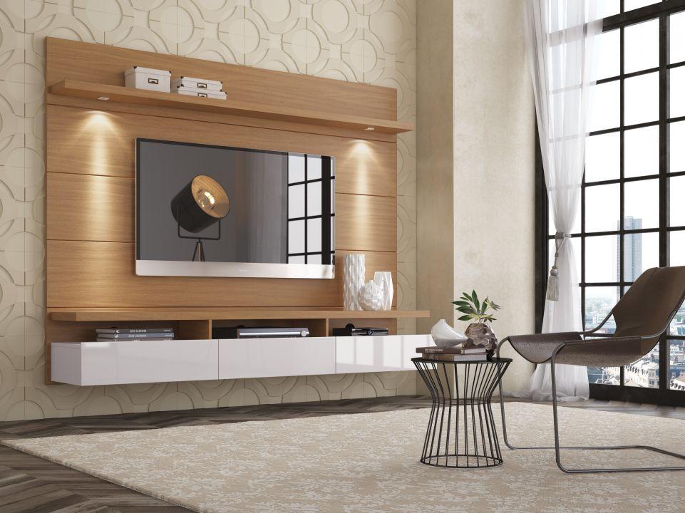 Home Horizon 1.80 mts, com três gavetas e luz de led. - Home Horizon 1,80 / 2,20 Natural e Off White