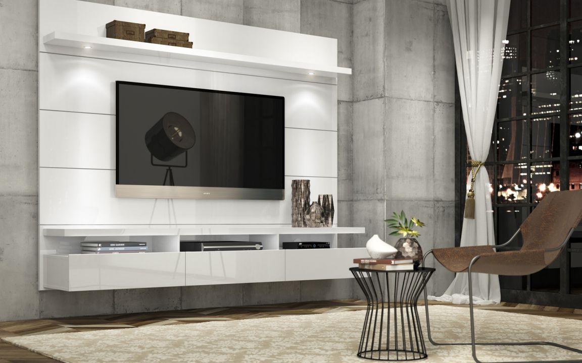 Home Horizon 1.80 mts, com três gavetas e luz de led. - Home Horizon 1,80 - 2,20 Branco Gloss