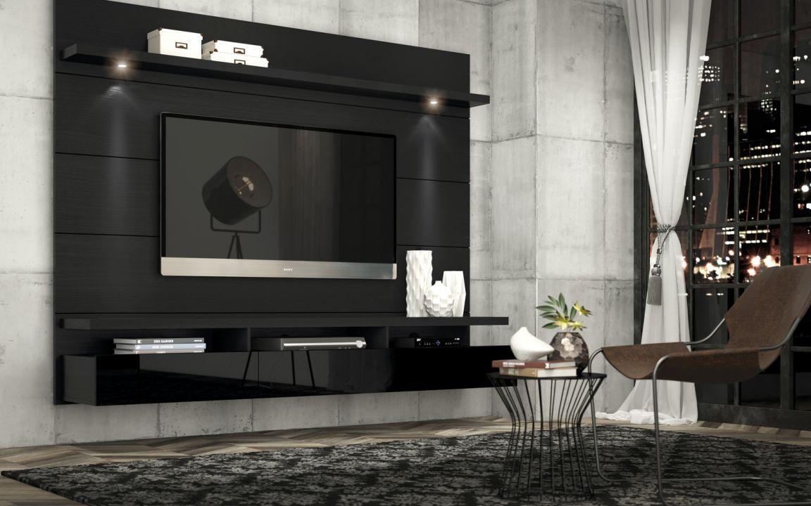 Home Horizon 1.80 mts, com três gavetas e luz de led. - Home Horizon 1,80 - 2,20 Preto Touch com Preto Gloss