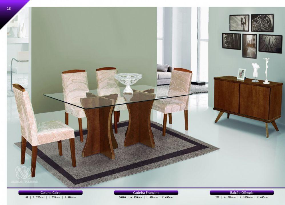 Conjuntos Mesas Jantar - Coluna Cairo + Cadeira Francine + Balcão Olímpia