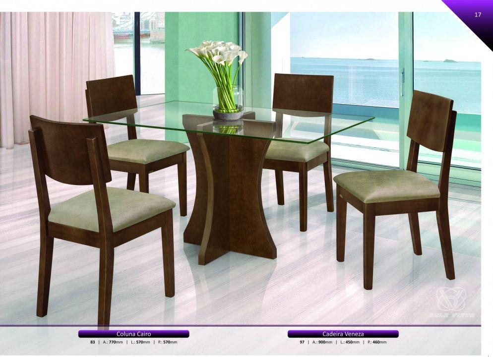 Conjuntos Mesas Jantar - Coluna Cairo + Cadeira Veneza