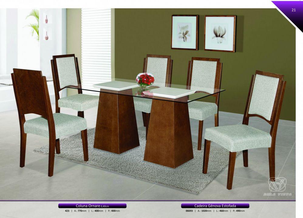 Conjuntos Mesas Jantar - Coluna Ornare + Cadeira Gênova Estofada