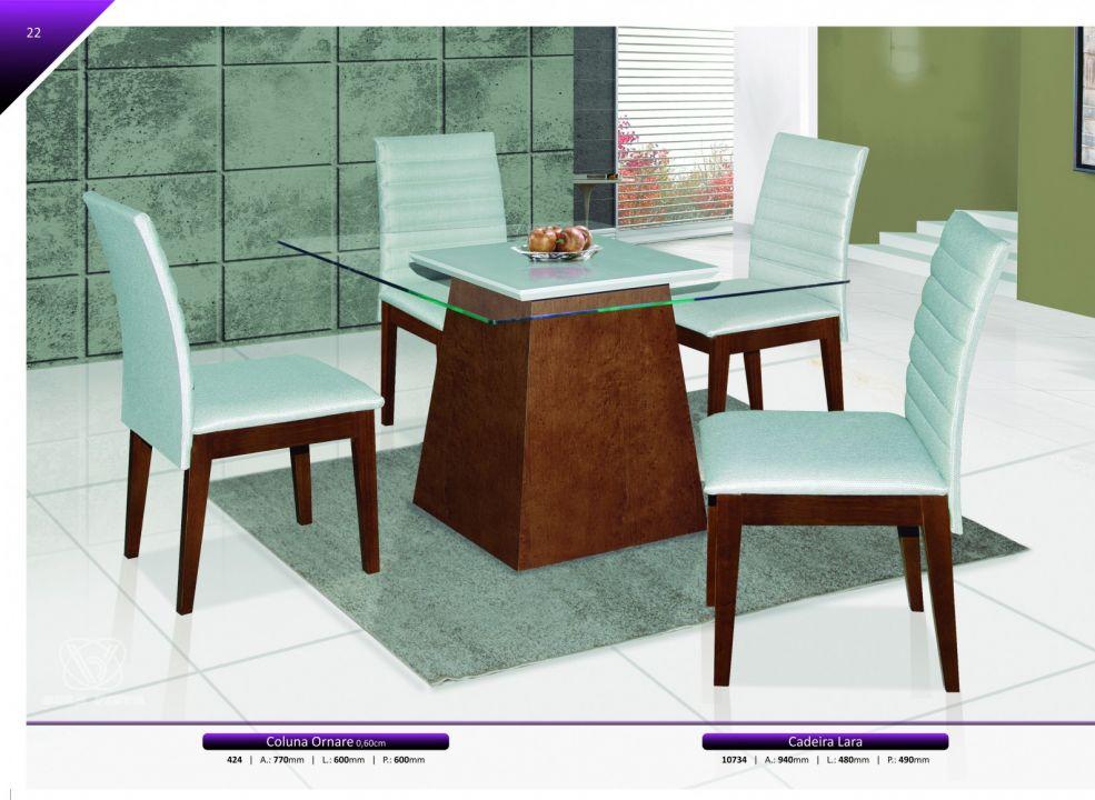 Conjuntos Mesas Jantar - Coluna Ornare + Cadeira Larissa