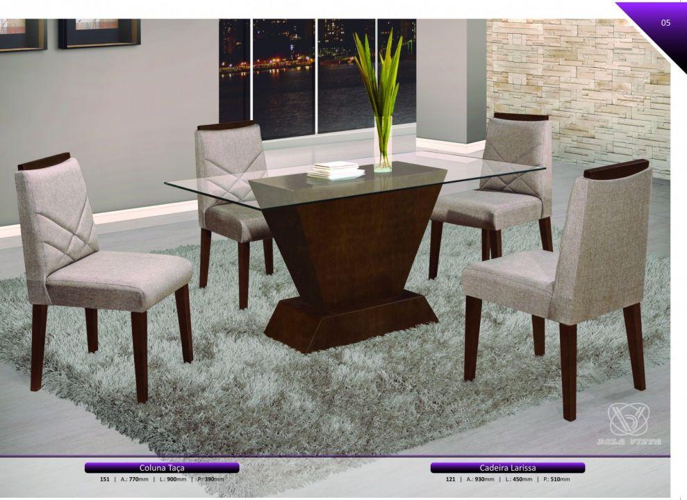 Conjuntos Mesas Jantar - Coluna Taça e cadeiras Larissa