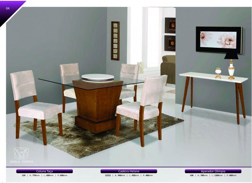Conjuntos Mesas Jantar - Coluna taça, Cadeiras Helane e Aparador Olímpia