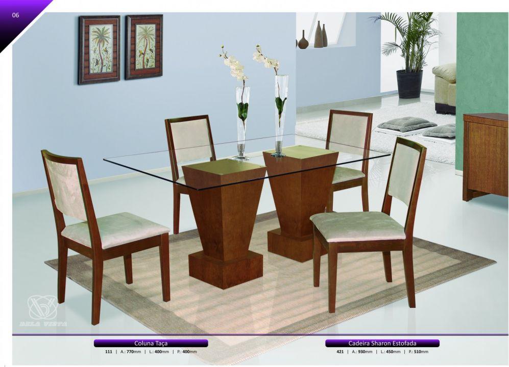 Conjuntos Mesas Jantar - Coluna Taça e cadeiras Sharon Estofada