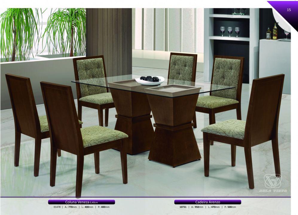 Conjuntos Mesas Jantar - Coluna Veneza + Cadeira Arenzo