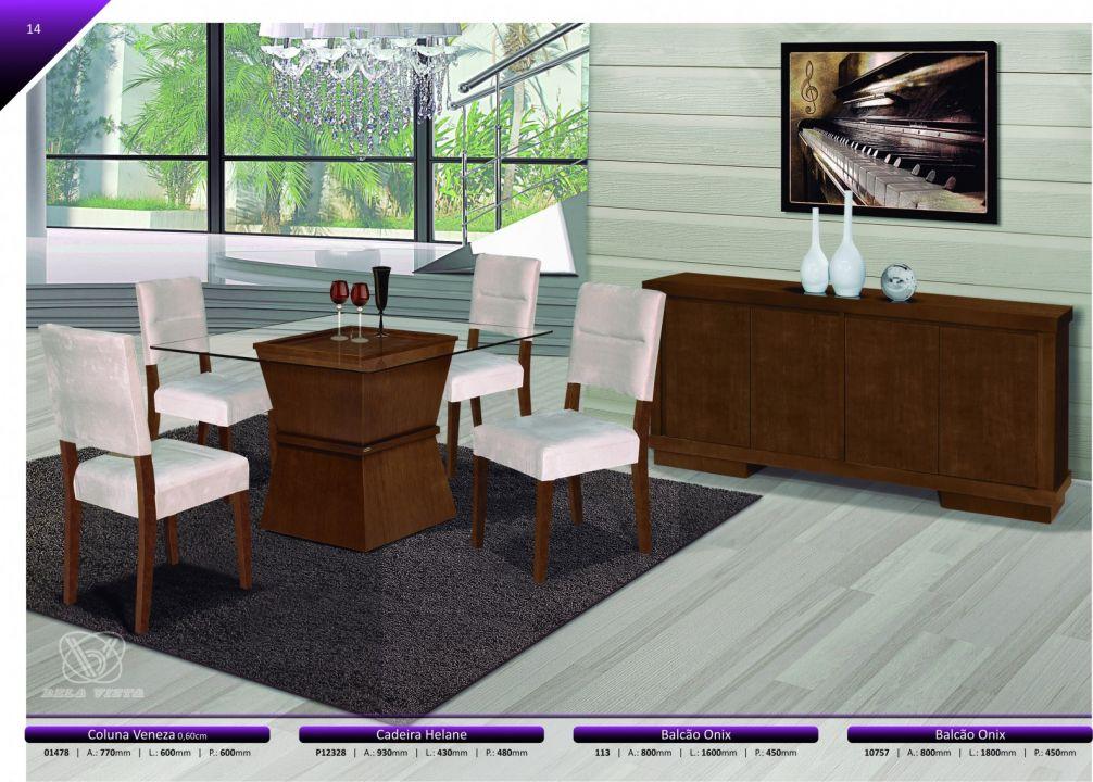 Conjuntos Mesas Jantar - Coluna Veneza + Cadeira Helane + Balcão Onix 1,60 e 1,80 mts