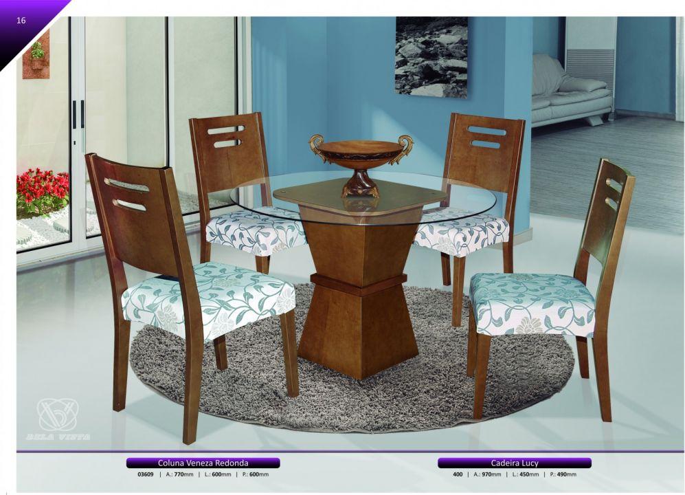 Conjuntos Mesas Jantar - Coluna Veneza Redonda + Cadeira Lucy
