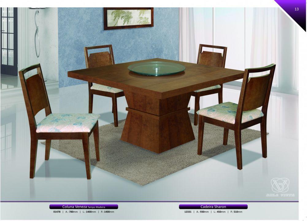 Conjuntos Mesas Jantar - Coluna Veneza tampo madeira e cadeira Sharon