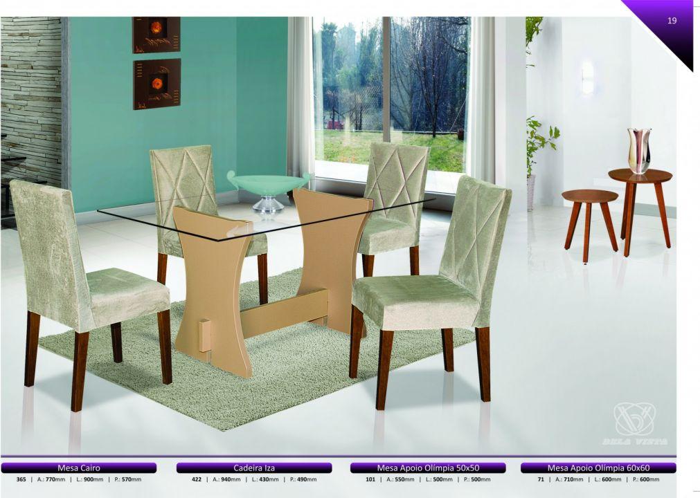 Conjuntos Mesas Jantar -  Mesa Cairo + Cadeira Iza + Mesa Apoio Olímpia de 50 Cm e 60 Cm