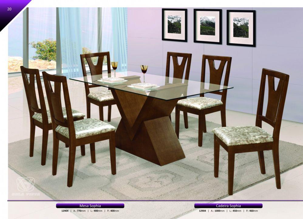 Conjuntos Mesas Jantar - Mesa Jantar Sophia + Cadeira Sophia