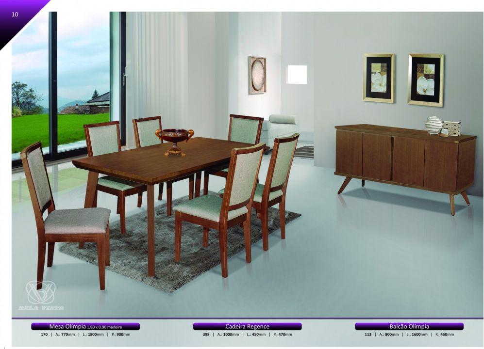 Conjuntos Mesas Jantar - Mesa Olímpia 1.80 x 0,90, cadeira Regence e Balcão Olímpia 1.60 x 0,45