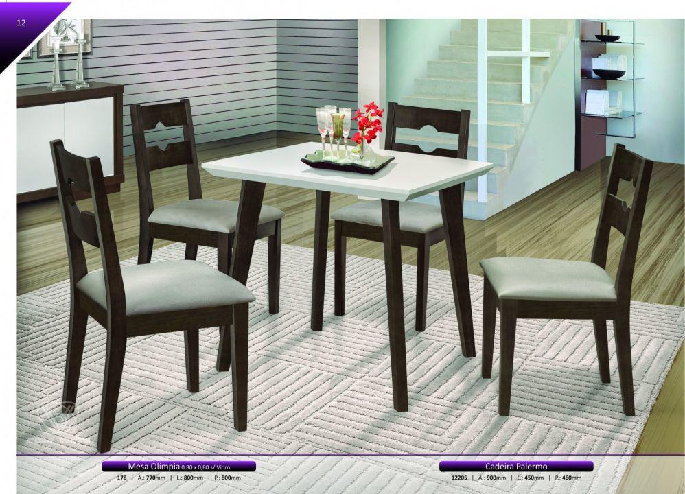 Conjuntos Mesas Jantar - Mesa Olímpia e cadeira Palermo