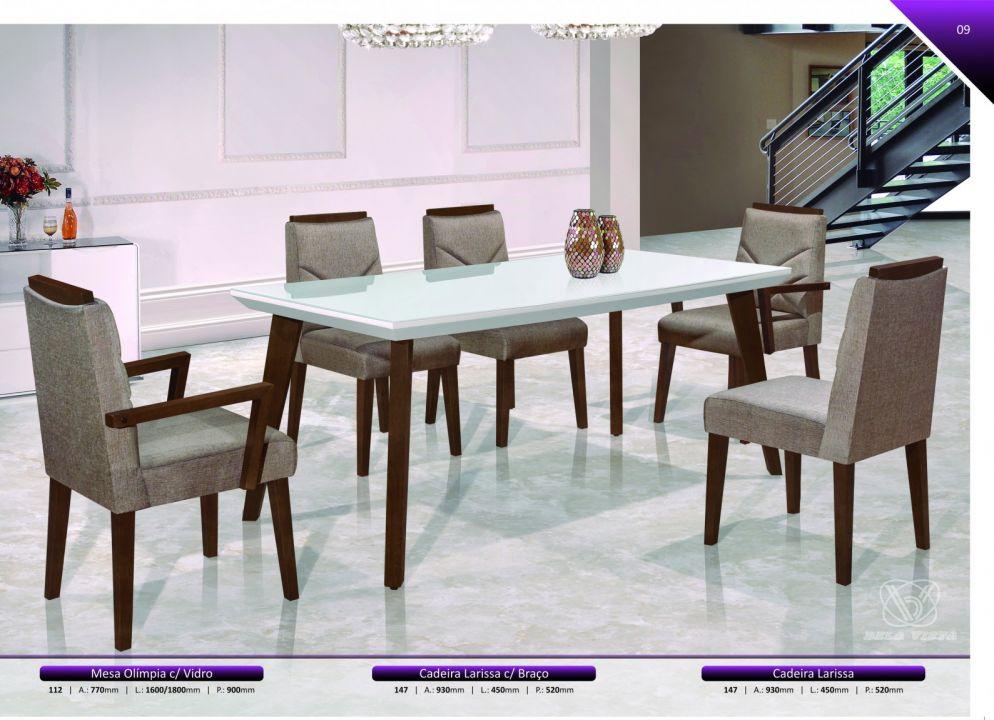 Conjuntos Mesas Jantar - Mesa Olímpia, Cadeiras Larissa com braço e cadeiras Larissa sem braço