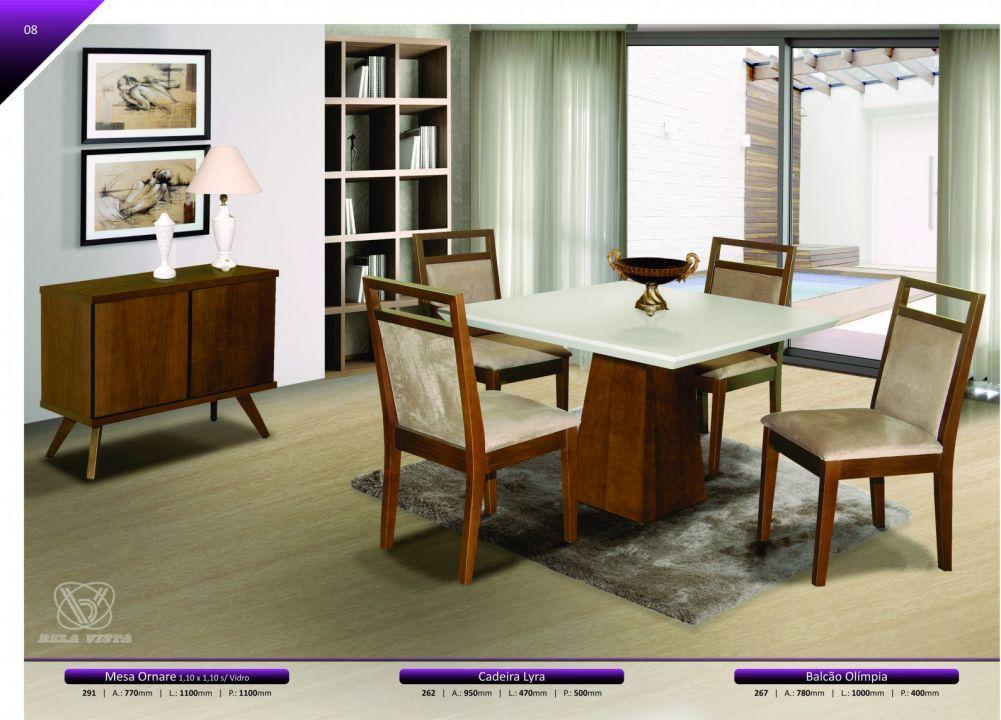Conjuntos Mesas Jantar - Mesa Ornare 1,10 x 1,10, cadeiras Lyra e Balcão Olímpia 1,00 x 0,40