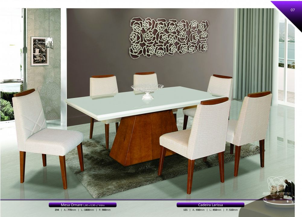 Conjuntos Mesas Jantar - Mesa Ornare e Cadeiras Larissa
