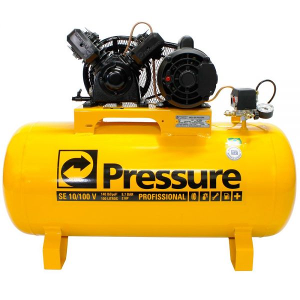 Compressor de Ar 2CV 10 Pés 100 Litros 110/220V PRESSURE