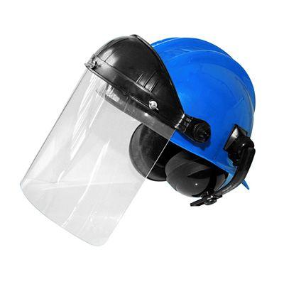 Capacete Azul c/ Protetor Facial Acoplado + Auditivo Plastcor