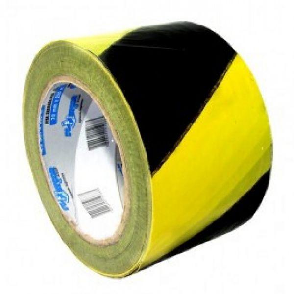 Fita Zebrada Preto/Amarelo Rolo de 200mts