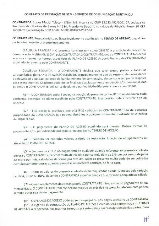 Internet Fibra Óptica para Condomínios e Empresas - Contrato Anatel 01