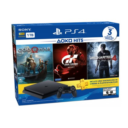 Playstation 4 Slim 1TB Bundle GOW/GT/UNC + Controle Sem Fio