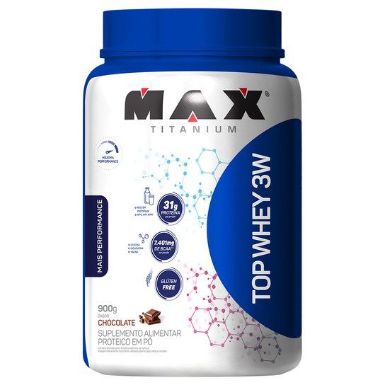 Top Whey 3w Mais Performance Sabor Chocolate 900g Max Titanium