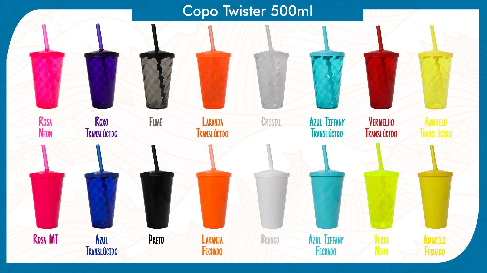 50 Copos Twister de 500ml personalizados - Modelos de twister