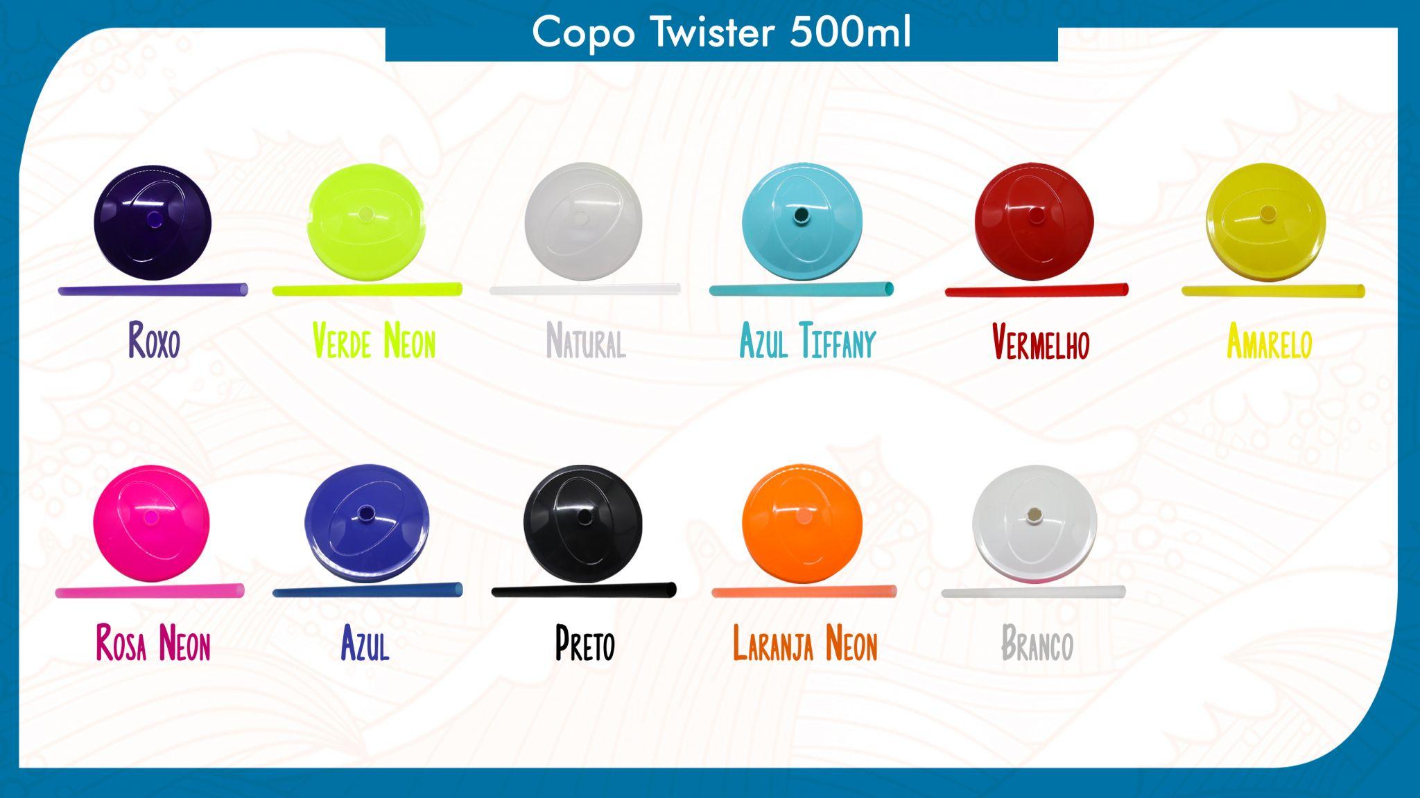 50 Copos Twister de 500ml personalizados - Modelos de tampa e canudo