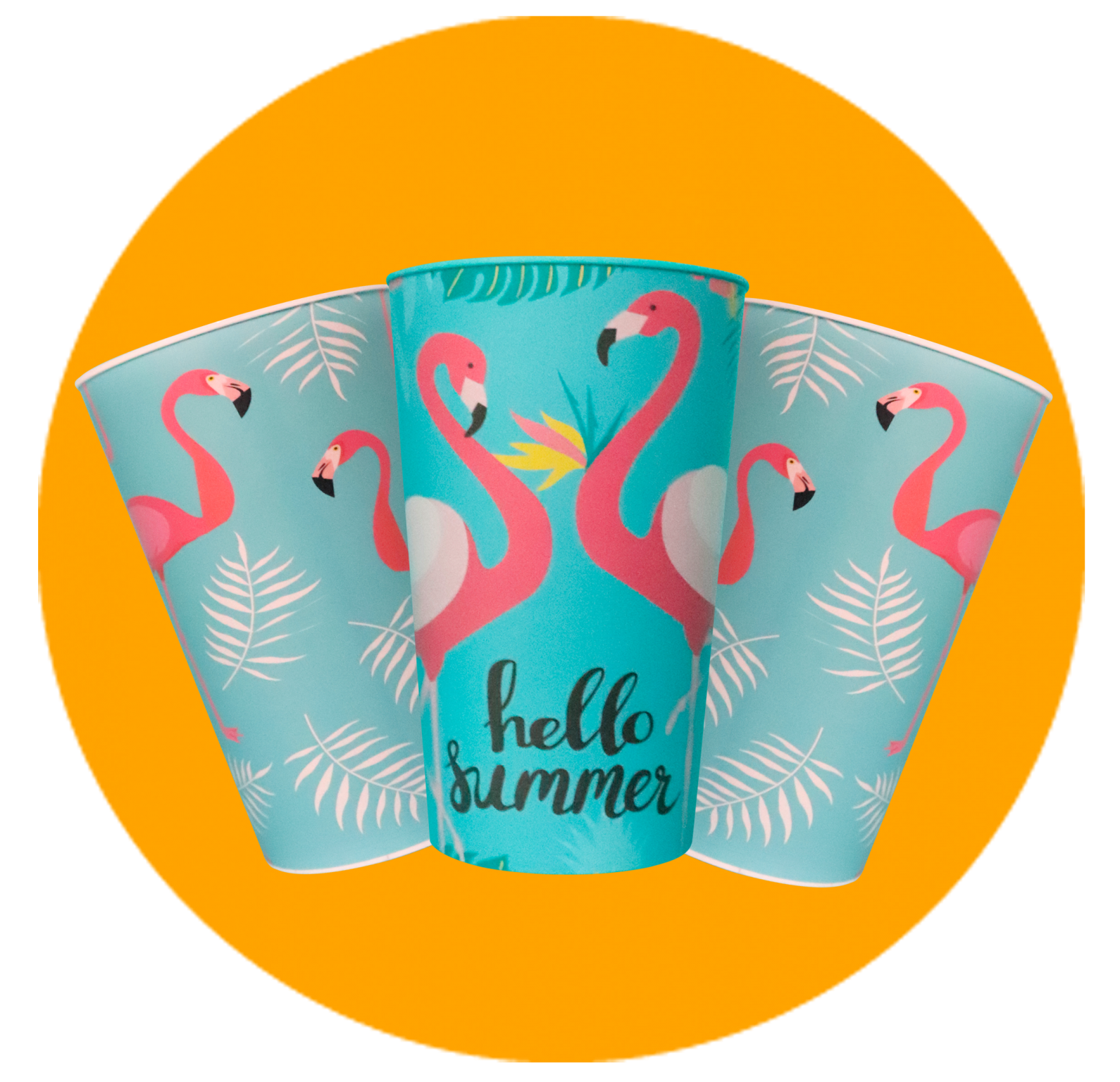 Copo Label 550ml - Hello Summer e Flamingo