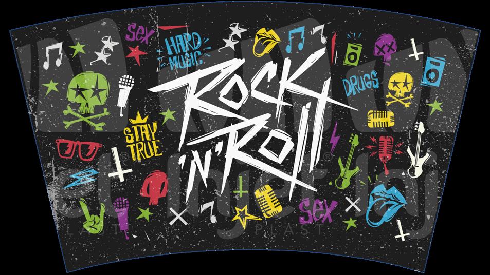 Copo Label 550ml c/tampa e canudo - Rock n Roll