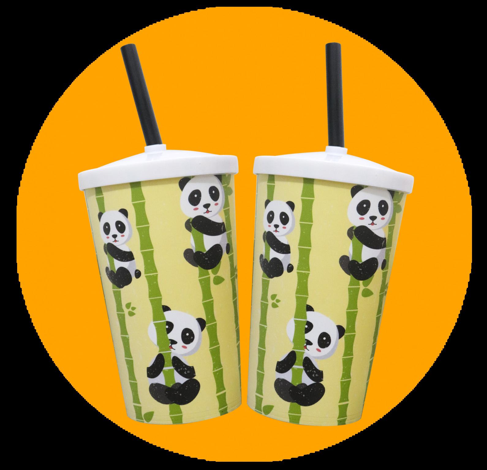 Copo Label 550ml c/tampa e canudo - Panda