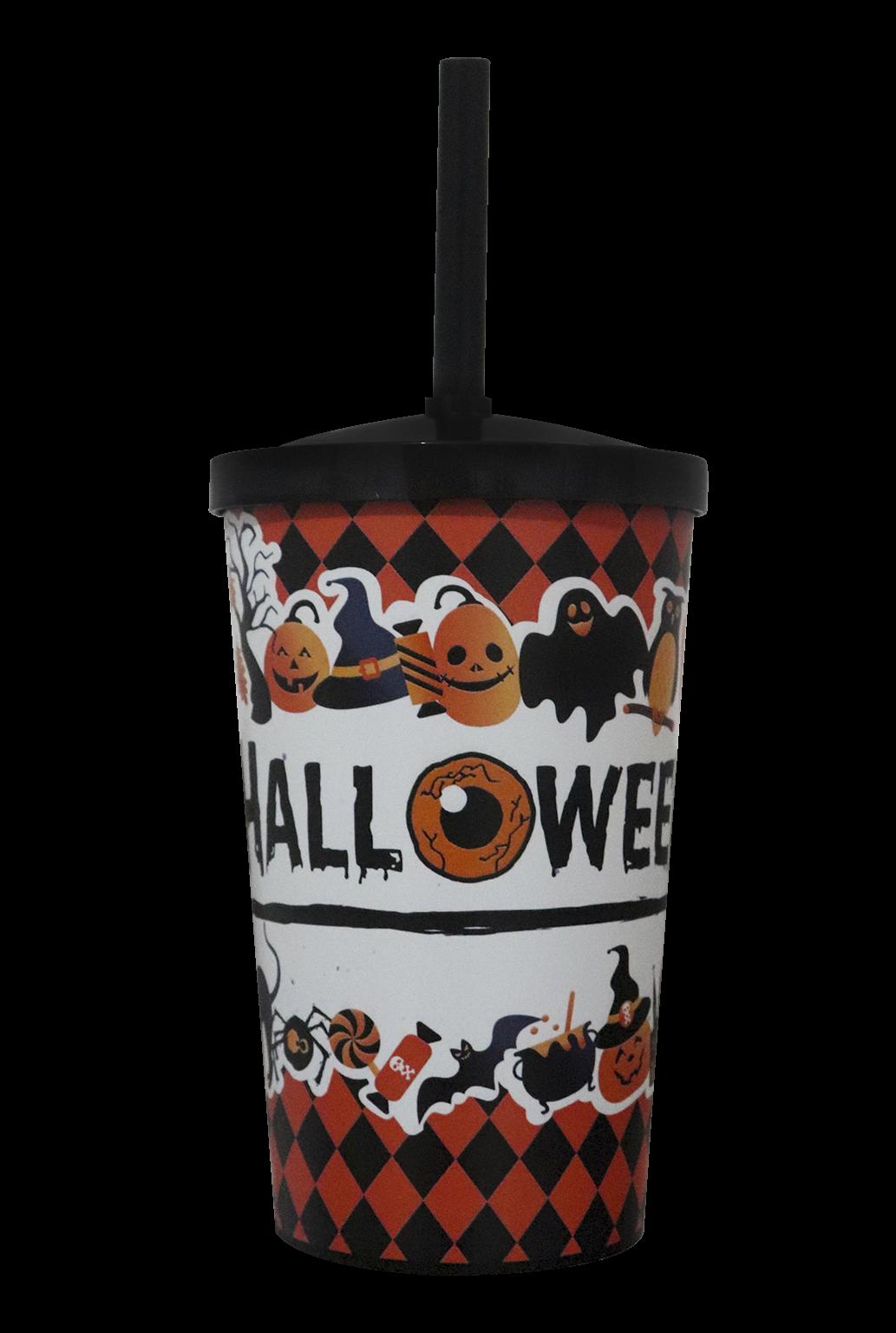 Copo Label 550ml c/tampa e canudo - Halloween
