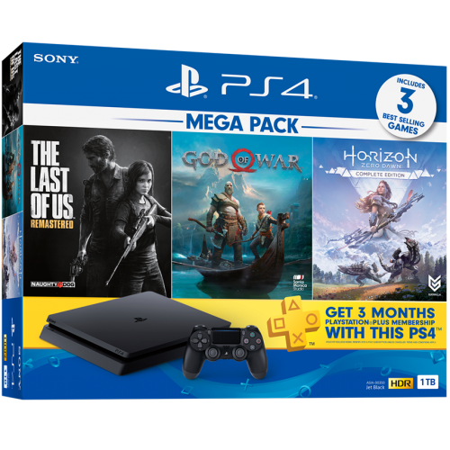 Playstation 4 Slim 1TB Preto Bundle GOW, Horizon, The last
