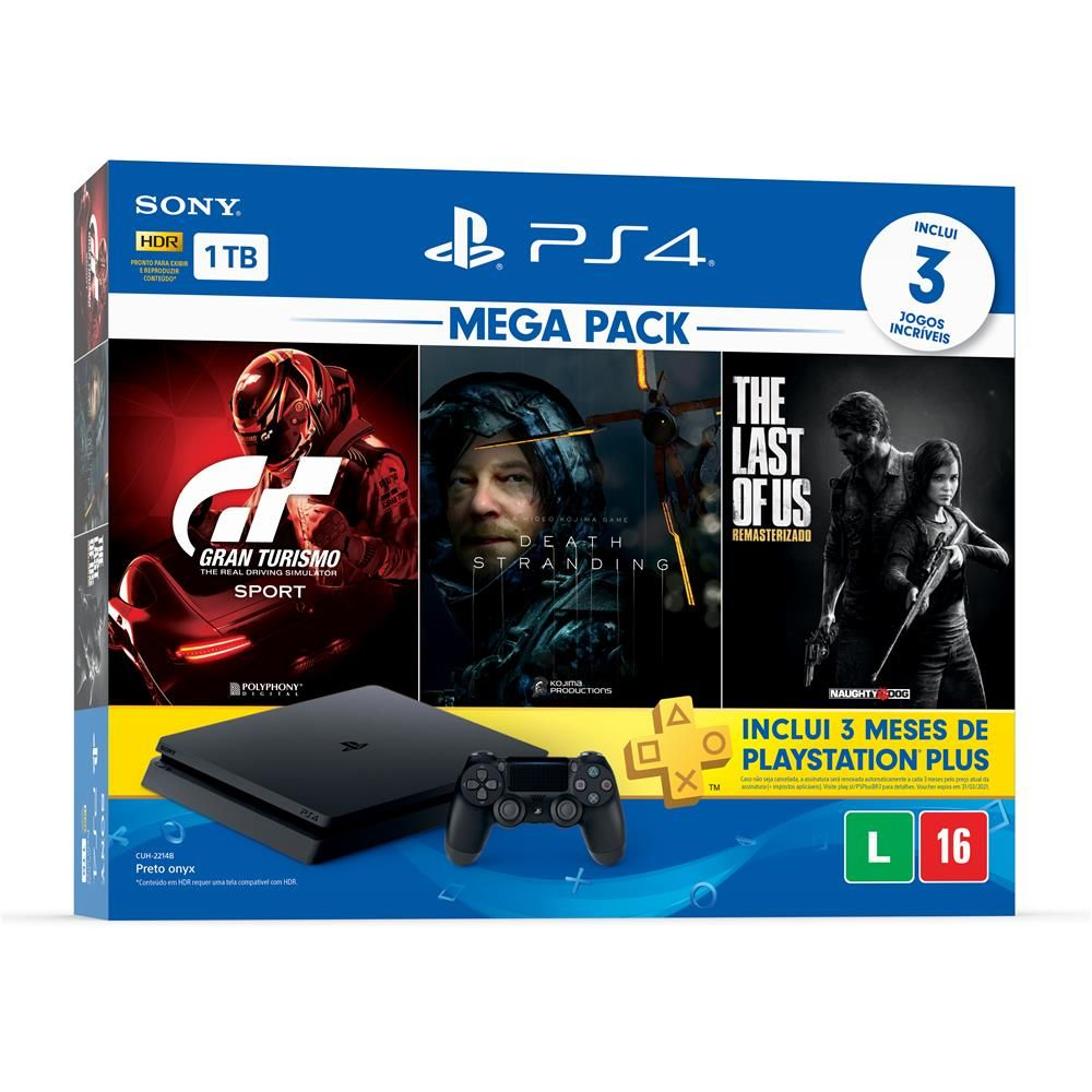 Playstation 4 Slim 1TB Preto Bundle Gran Turismo, Death Stranding, The Last Of Us