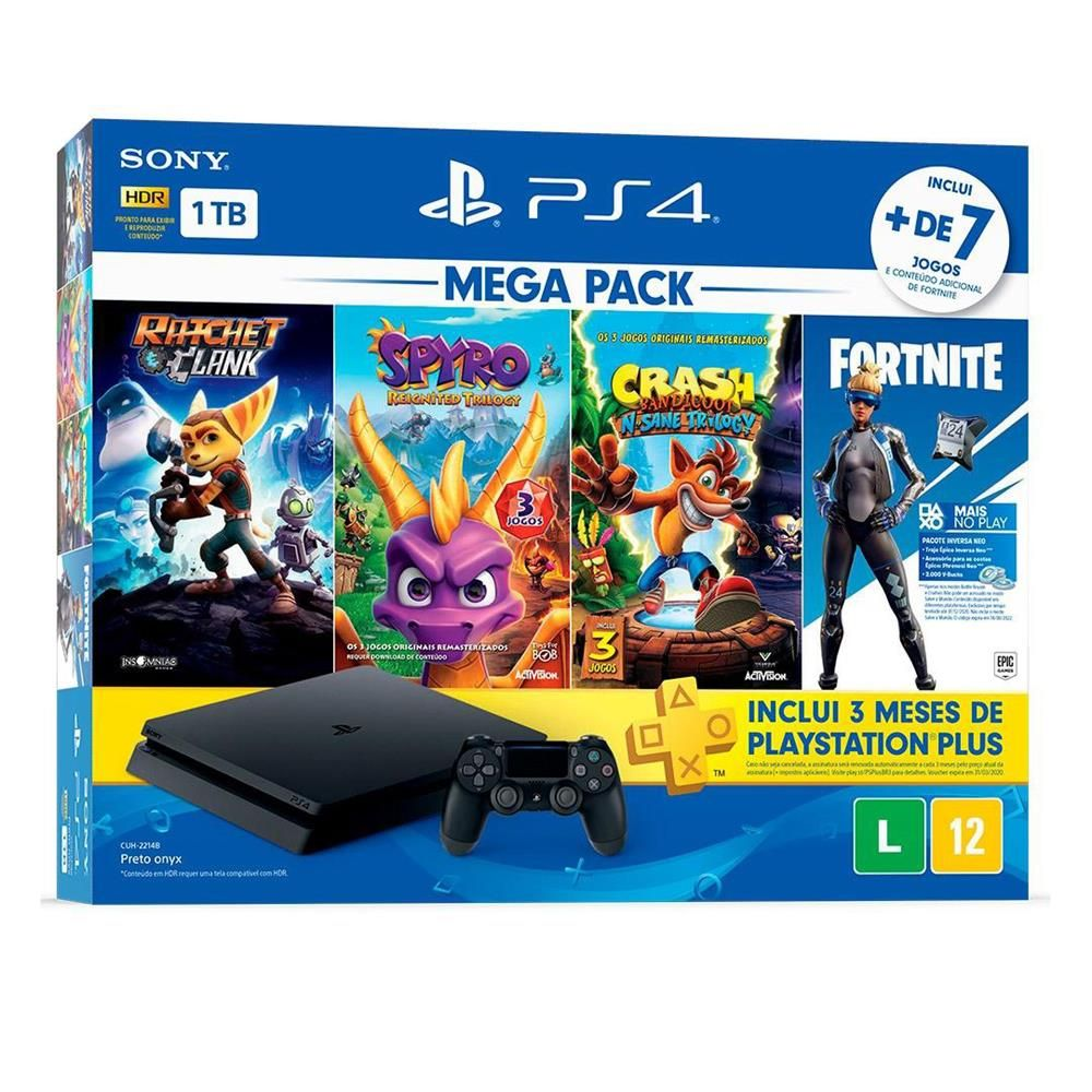 Playstation 4 Slim 1TB Preto Bundle Hits Mega Pack 8