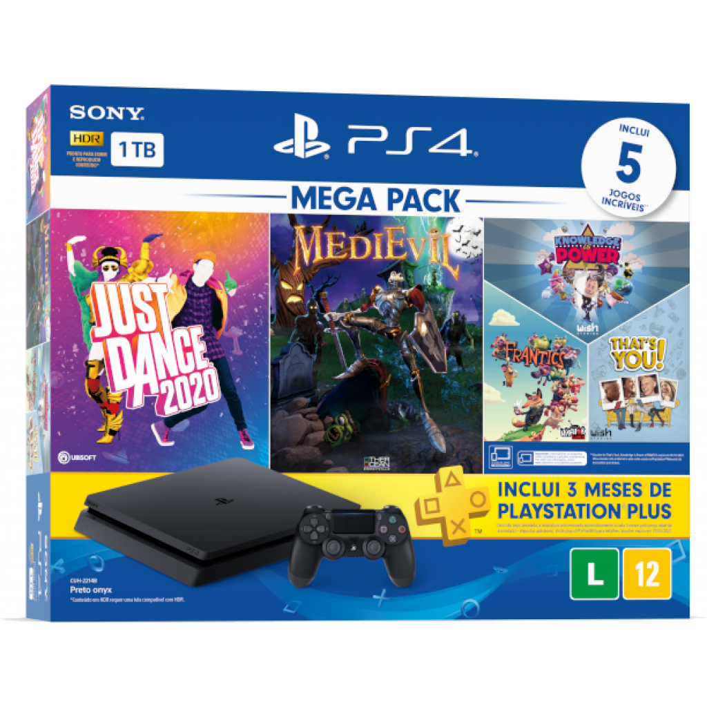 Playstation 4 Slim 1tb Pack Family V11 C/ 5 Jogos + Psn