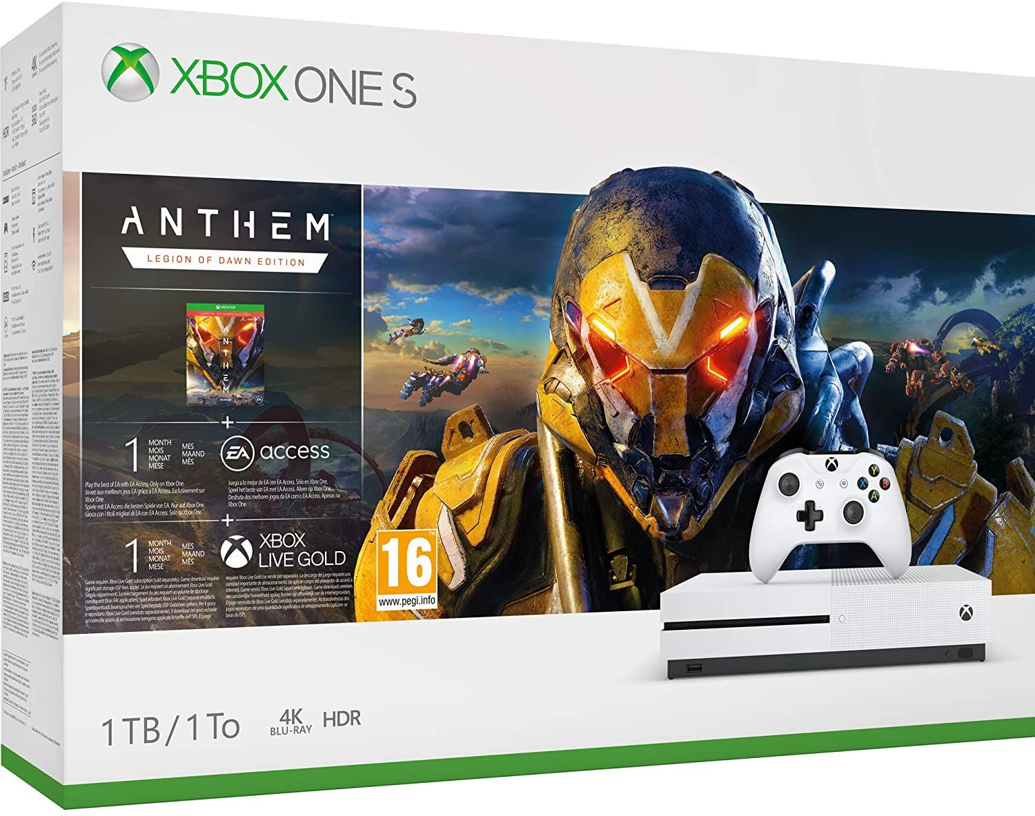 Microsoft Xbox One S 1TB Standard Branco Bundle Anthem