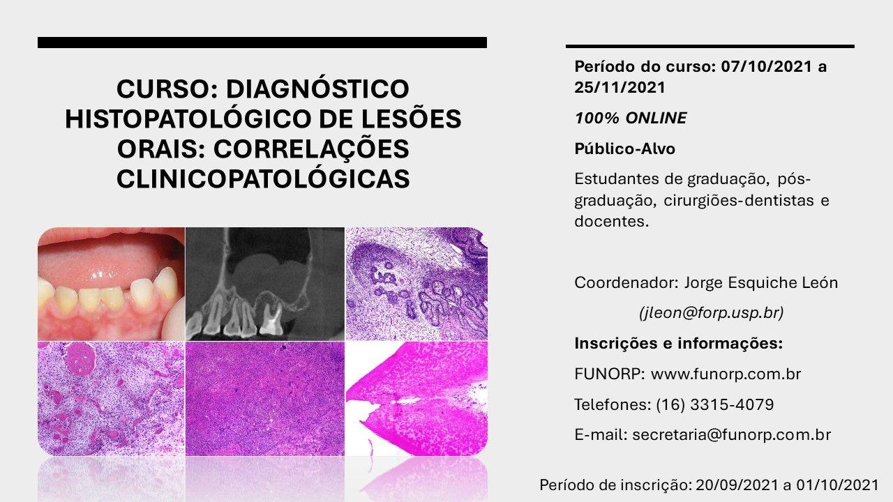 CURSO DIAGNÓSTICO HISTOPATOLÓGICO DE LESÕES ORAIS: correlações clínicopatológicas ONLINE